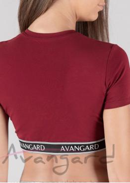 Дамска памучна къса тениска за фитнес в цвят бордо с външен ластик Avangard 120