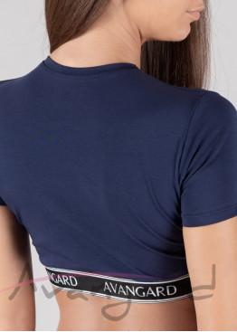 Дамска памучна къса тениска за фитнес в тъмно син цвят с външен ластик Avangard 120