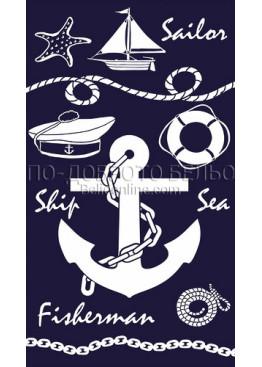 Плажна голяма хавлия с морящки мотиви с котва 9218 Le Comptoir De La Plage