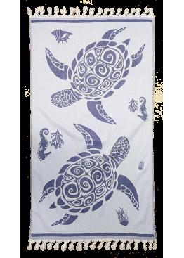 Плажна голяма хавлия с ресни и костенурки 9207 Le Comptoir De La Plage