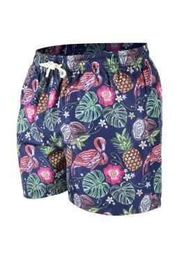 Мъжки плажни шорти New Silhouette 6448 с фламинго и цветя