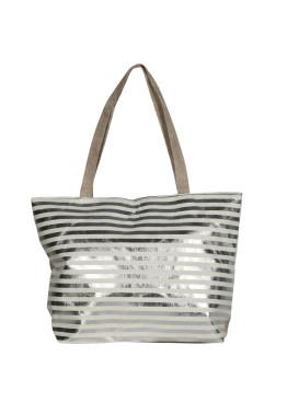 Плажна чанта в бежаво на сребристи райета 9303 New Silhouette