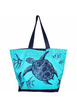 Плажна чанта в светло синьо с костенурка 9288 Le Comptoir De La Plage