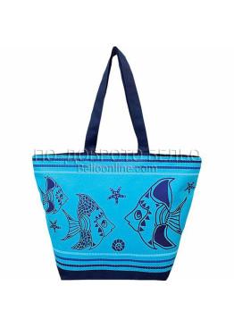Плажна чанта в светло синьо с рибки 9296 Le Comptoir De La Plage
