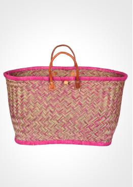 Плажна плетена кошница 9456 розово и зелено Le Comptoir De La Plage