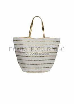 Стилна плажна чанта в златисто и екрю 6222