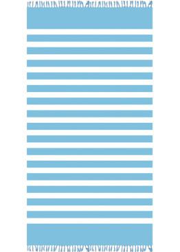 Голяма плажна хавлия 9201 в синьо райе с ресни Le Comptoir De La Plage