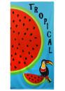 Плажна кърпа с папагал и диня Tropical 9223 светло син