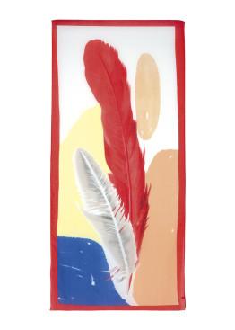 Плажно дамско лятно парео 9127 Цветни пера