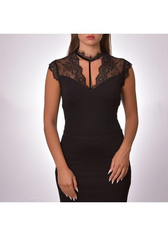 Луксозно дизайнерско дамско боди от Eyelash дантела Тяпти 946