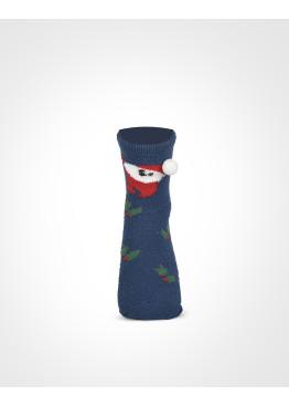 Дамска коледни чорапи с помпон в синьо 7659