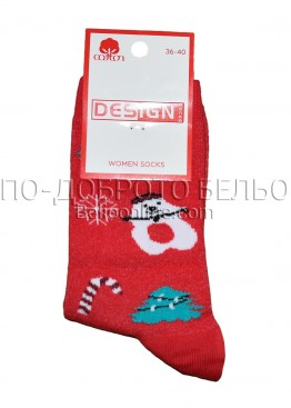 Дамски ароматизирани коледни чорапи Design в червено 9331