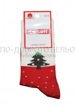 Дамски ароматизирани коледни чорапи Design в червено 9332 с елхичка