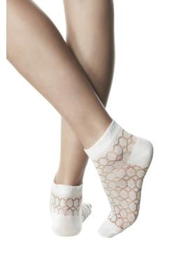 Дамски ажурени къси чорапи в бяло Pompea Catena bianco