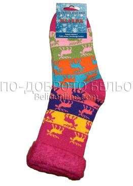 Дамски дебели зимни пухкави чорапи Elitex 9360 с коледни мотиви