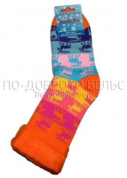 Дамски дебели зимни пухкави чорапи Elitex 9362 с коледни мотиви