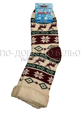 Дамски дебели зимни пухкави чорапи Elitex 9364 с коледни мотиви