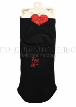 Дамски къси чорапи с червено сърце с камъни Love 7630 Pier Lone