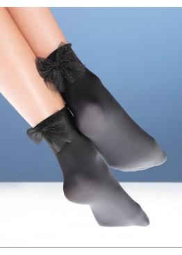 Дамски кокетни къси чорапи с панделка с брукат Bellissima Dream
