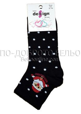 Дамски ароматизирани коледни чорапи Design в черно на точки със дядо Коледа 9329