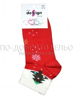 Дамски ароматизирани коледни чорапи Design в червено на снежинки с елхичка 9330