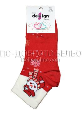 Дамски ароматизирани коледни чорапи Design в червено със снежен човек 9328