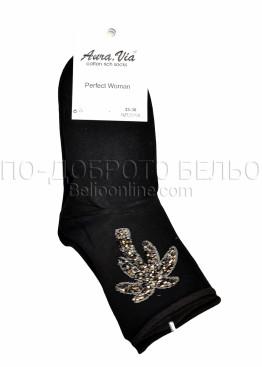 Дамски памучни чорапи с палма от блестящи камъни  Aura Via 7423 в черен цвят