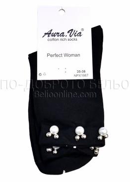 Дамски памучни чорапи с перли Aura Via 7422 в черен цвят