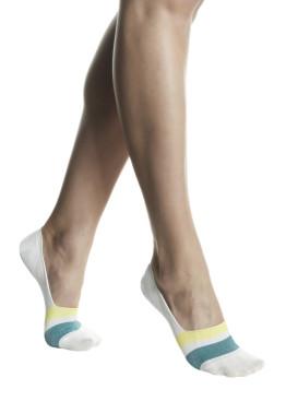 Дамски памучни терлички с цветни ленти с ламе Pompea Marlena Giallo