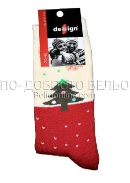 Дамски термо коледни чорапи Design в червено 9333 с елхичка