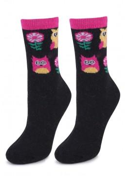 Дамски вълнени чорапи от ангора Marilyn L36 в черно