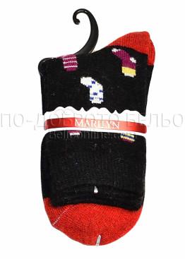 Дамски вълнени зимни чорапи с картинка Marilyn 7246 в черен цвят