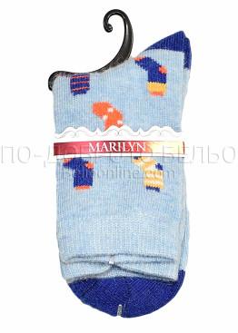 Дамски вълнени чорапи с картинка Marilyn 7246 в син цвят