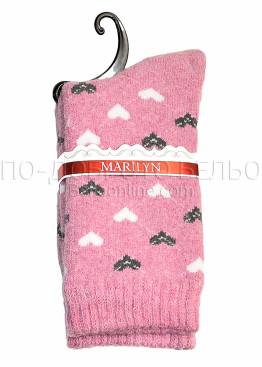Дамски вълнени зимни чорапи на сърца Marilyn 7245 в розов цвят