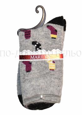 Дамски вълнени зимни чорапи с картинка Marilyn 7246 в сив цвят
