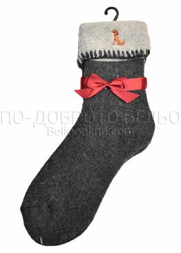 Дамски вълнени зимни чорапи с подгъв Marilyn 7448 в тъмно сив цвят