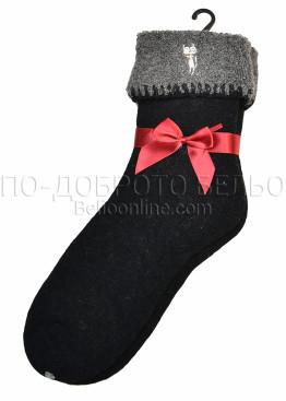 Дамски вълнени зимни чорапи с тъмен подгъв Marilyn 7448 в черен цвят