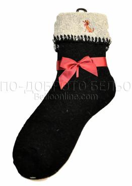 Дамски вълнени зимни чорапи със светъл подгъв Marilyn 7448 в черен цвят
