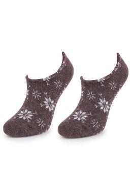 Дамски вълнени зимни чорапи терлик Marilyn 7216 в кафяв цвят на снежинки