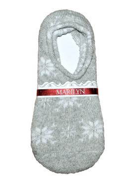 Дамски вълнени зимни чорапи терлик Marilyn 7216 в сив цвят на снежинки