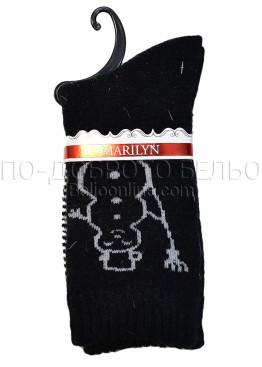 Дамски вълнени зимни къси чорапи на със снежен човек Marilyn 7205 в черно