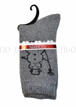 Дамски вълнени зимни къси чорапи на със снежен човек Marilyn 7205 в сиво