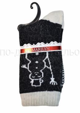 Дамски вълнени зимни къси чорапи на със снежен човек Marilyn 7205 в тъмно сиво със светъл кант