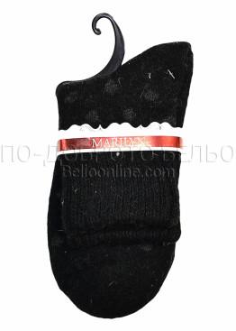 Дамски вълнени зимни къси чорапи на точки Marilyn 7203 в черен цвят