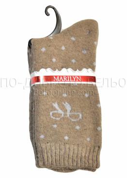Дамски вълнени зимни къси чорапи на точки с панделка Marilyn 7204 в бежов цвят