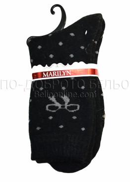 Дамски вълнени зимни къси чорапи на точки с панделка Marilyn 7204 в черен цвят
