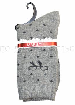 Дамски вълнени зимни къси чорапи на точки с панделка Marilyn 7204 в сив цвят