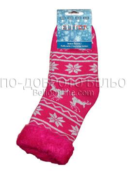 Детски дебели зимни пухкави чорапи Elitex 9349 в розово на еленчета и снежинки