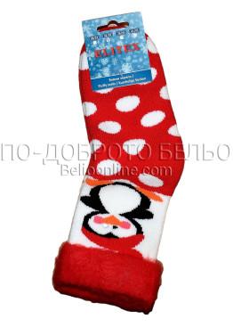 Детски дебели зимни пухкави чорапи Elitex 9352 с пингвинче