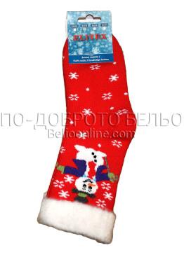 Детски дебели зимни пухкави чорапи Elitex 9353 със снежен човек